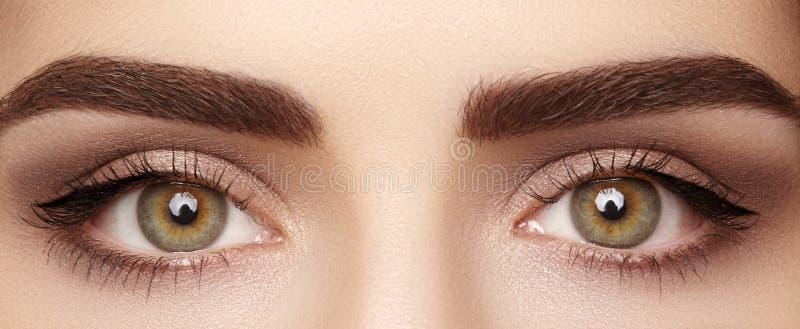 Närbildmakro av det härliga kvinnliga ögat med perfekta formögonbryn Ren hud, modenaturelsmink Bra vision fotografering för bildbyråer