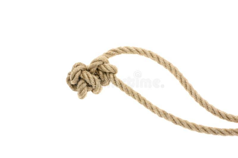närbildsikt av det bruna nautiska repet med fnuren royaltyfri bild