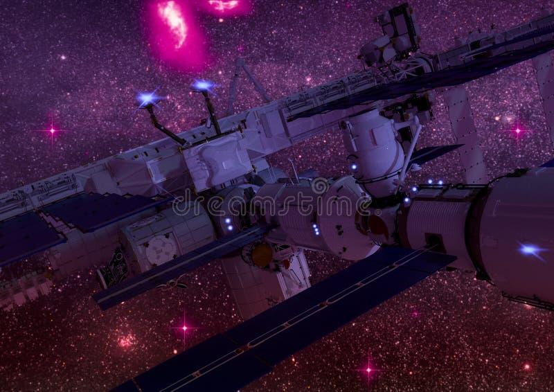 Närbildsikt av en science fictionrymdstation i yttre rymden vektor illustrationer