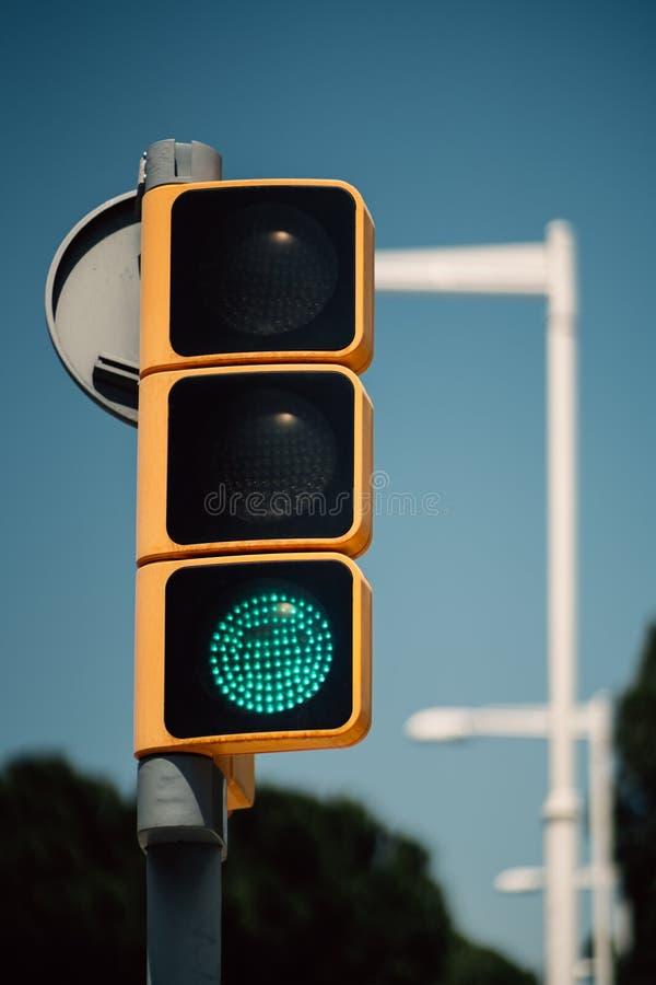 Närbildsikt av grön trafikljus royaltyfri foto