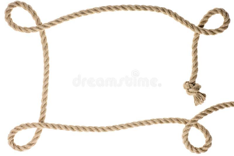 närbildsikt av ramen som göras från rep med fnuren royaltyfri bild