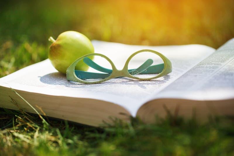 Närbildskott av exponeringsglas på en bok tillsammans med ett äpple på ett grönt gräs royaltyfria foton