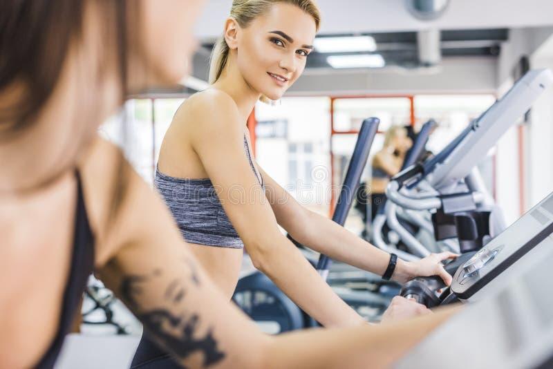 närbildskott av sportive kvinnor som utarbetar på ellipsformiga maskiner royaltyfri bild