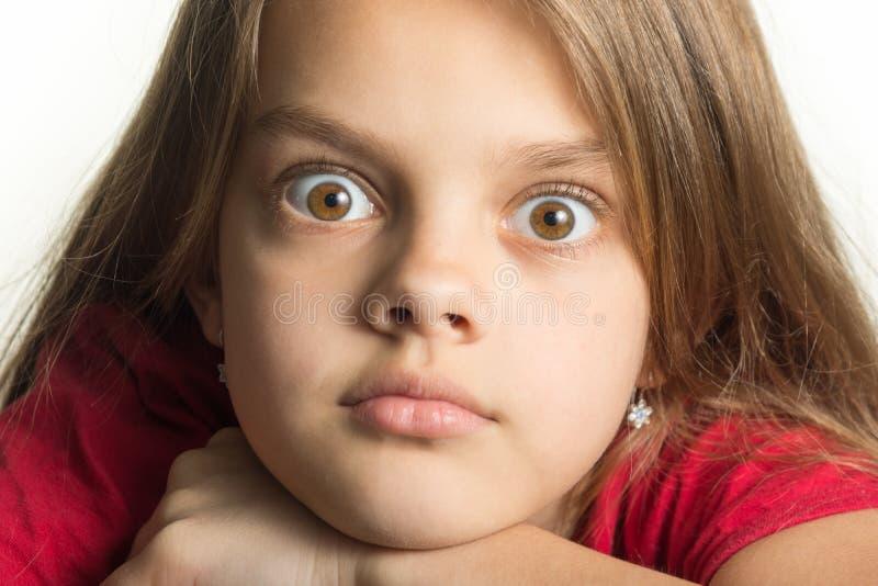 Närbildståenden av den tonårs- flickan med att svälla ut synar royaltyfri foto