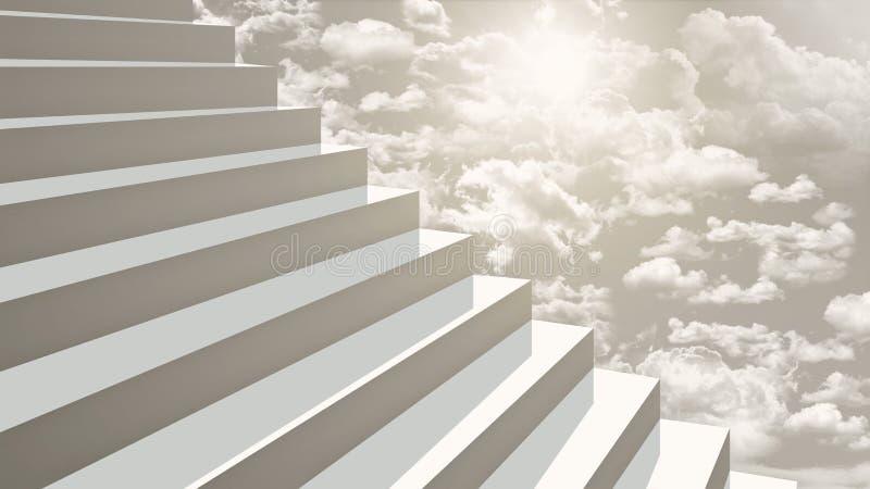 Närbildtrappa som upp till går himmel i diagonalt perspektiv vektor illustrationer
