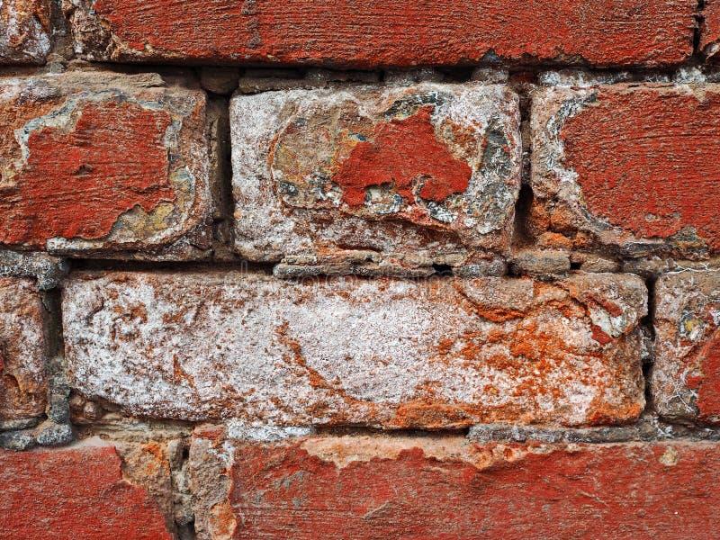 Närbildvägg av röd tegelsten arkivfoto