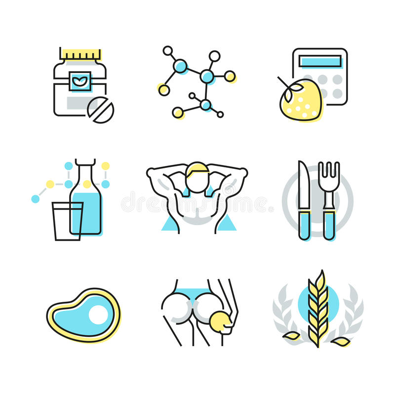 Näring- och hälsovårdsymboler stock illustrationer