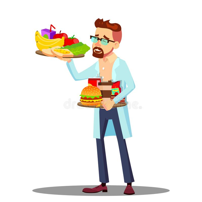 Näringsfysiolog med frukter och hamburgare i sund och sjuklig matvektorn den händer, Isolerad tecknad filmillustration vektor illustrationer