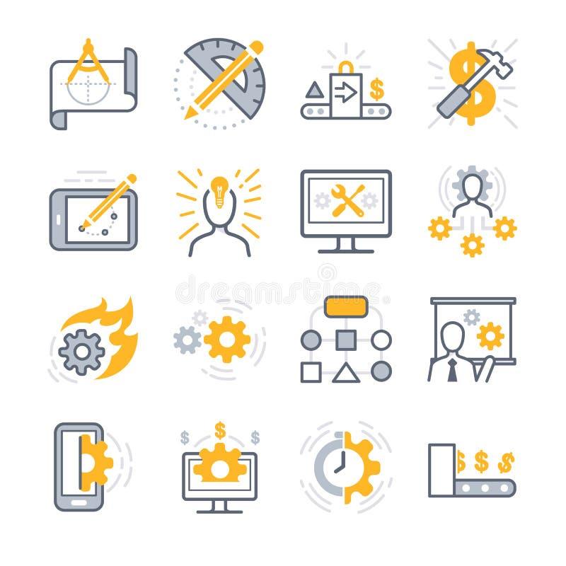 Näringslivsutvecklingsymboler stock illustrationer