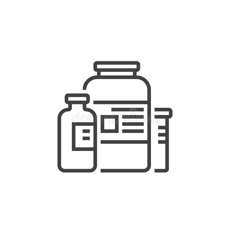 Näringsrika tillägg fodrar symbolen, översiktsvektortecknet, den linjära pictogramen som isoleras på vit vektor illustrationer