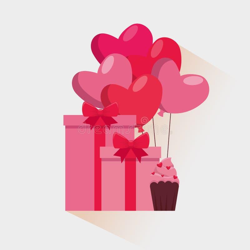 Närvarande gåva för valentin med den hjärtaballonger och muffin vektor illustrationer