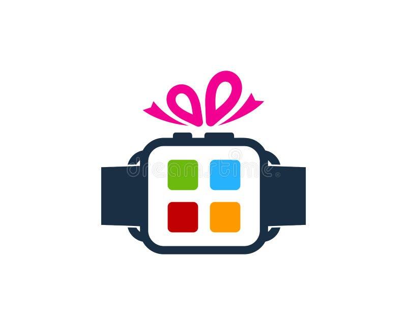Närvarande smart klocka Logo Icon Design vektor illustrationer