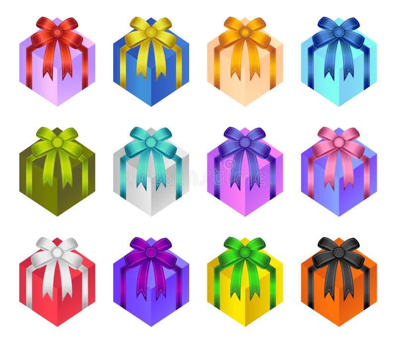 Närvarande vektor för gåvaask, glansiga pilbågar och band på gåvaasken, garneringetikettsamling för födelsedagen, jul, nytt år gå stock illustrationer