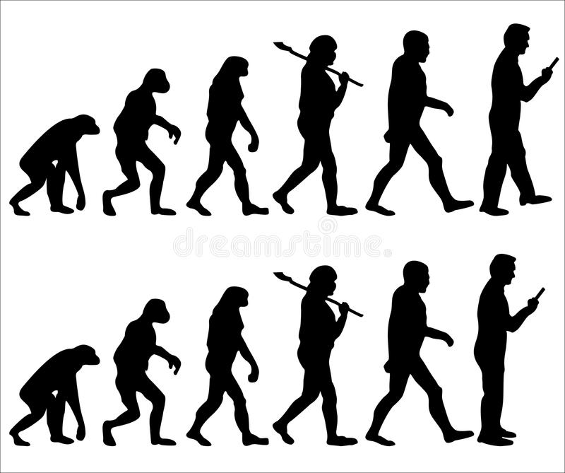 Nästa mänsklig evolution vektor illustrationer