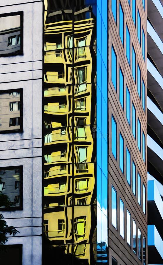 Nästan abstrakt begrepp eller overklig sikt av reflexioner och vinklar av stads- byggnadsillustrationer arkivbild