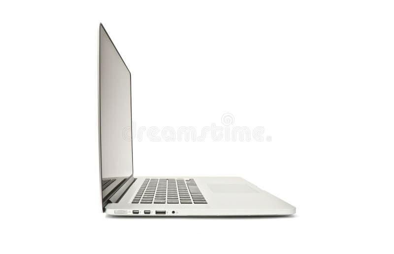 Näthinna pro-Macbook - sidosikt på vit royaltyfria bilder
