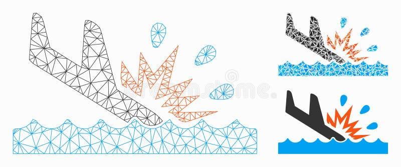 Nätmodell för vattenkrocksvaktvektor och ikonen för triangelmosaik royaltyfri illustrationer