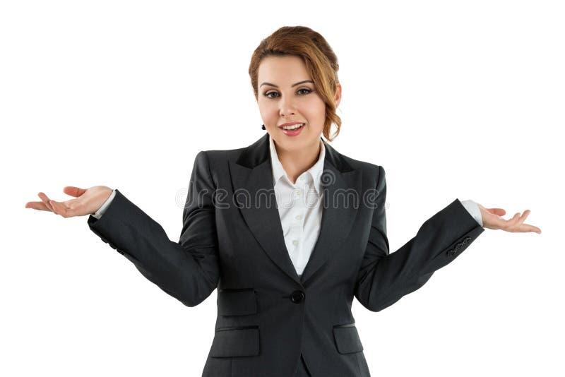 Nätt affärskvinna som isoleras på vit arkivfoton