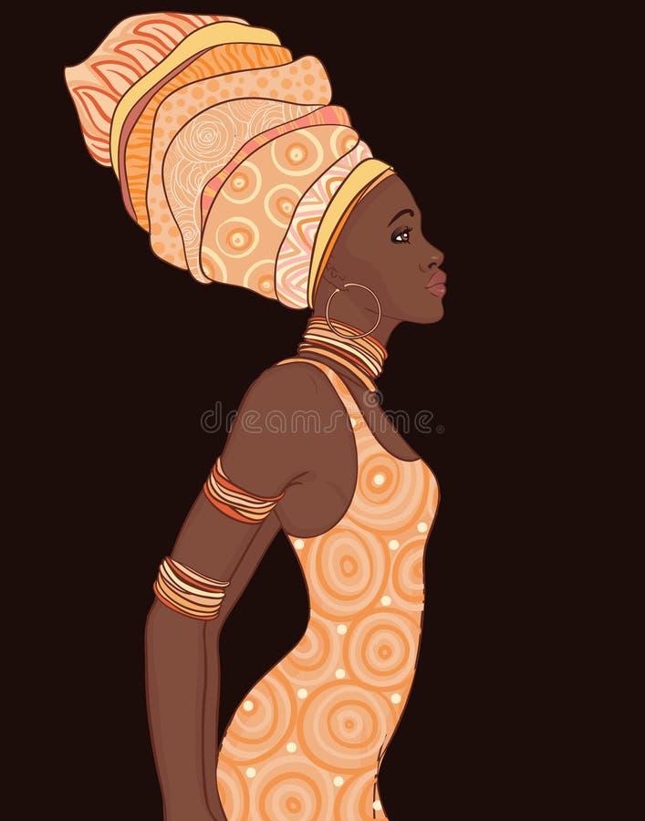 Nätt afrikansk amerikankvinna i traditionell turban royaltyfri illustrationer