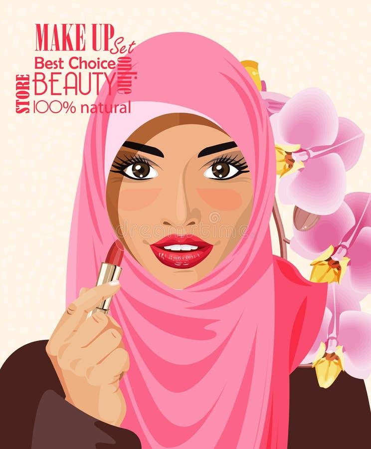 Nätt arabisk kvinna i den hållande läppstiftet för hijab på ljus bakgrundsvektorillustration vektor illustrationer