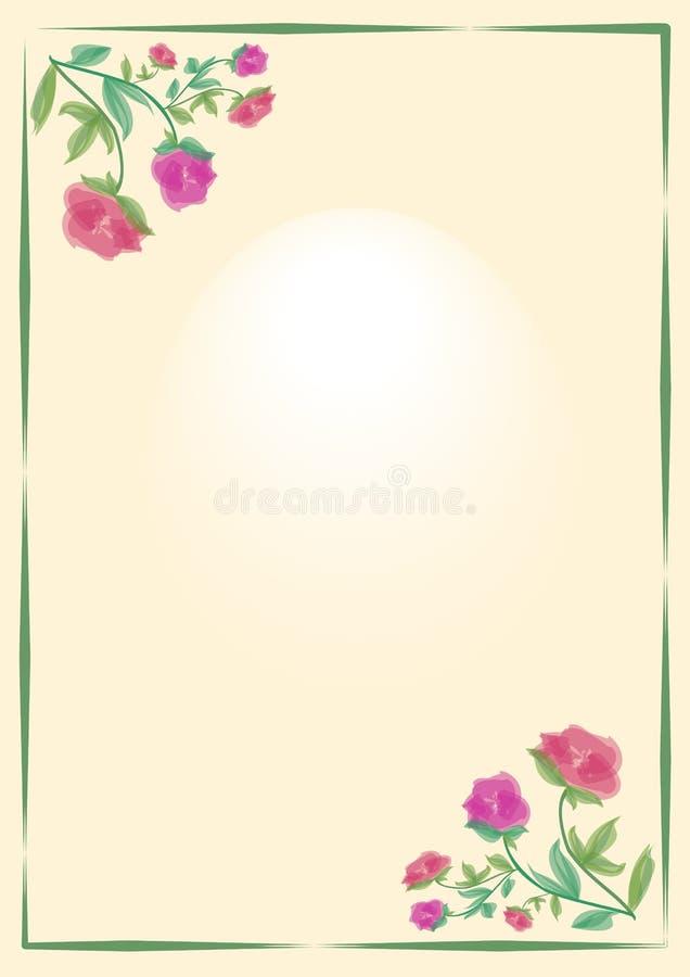 Nätt bakgrund med blom- motiv för liten ros och grön ram på beige område Ställe för ditt eget hälsning eller meddelande eps10 blo royaltyfri illustrationer