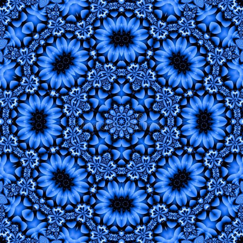 nätt blå blom- mandala stock illustrationer