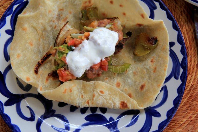 Nätt blåttplatta med nya tortillor för lunch royaltyfria foton
