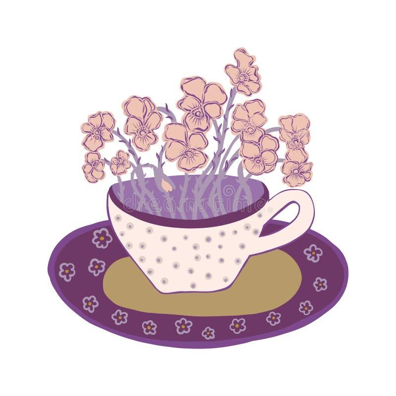 Nätt blommakopp med buketten av pansies Hand tecknad vektorillustration royaltyfri illustrationer