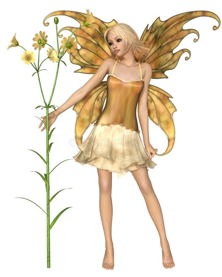 Nätt blond fe med gula blommor stock illustrationer
