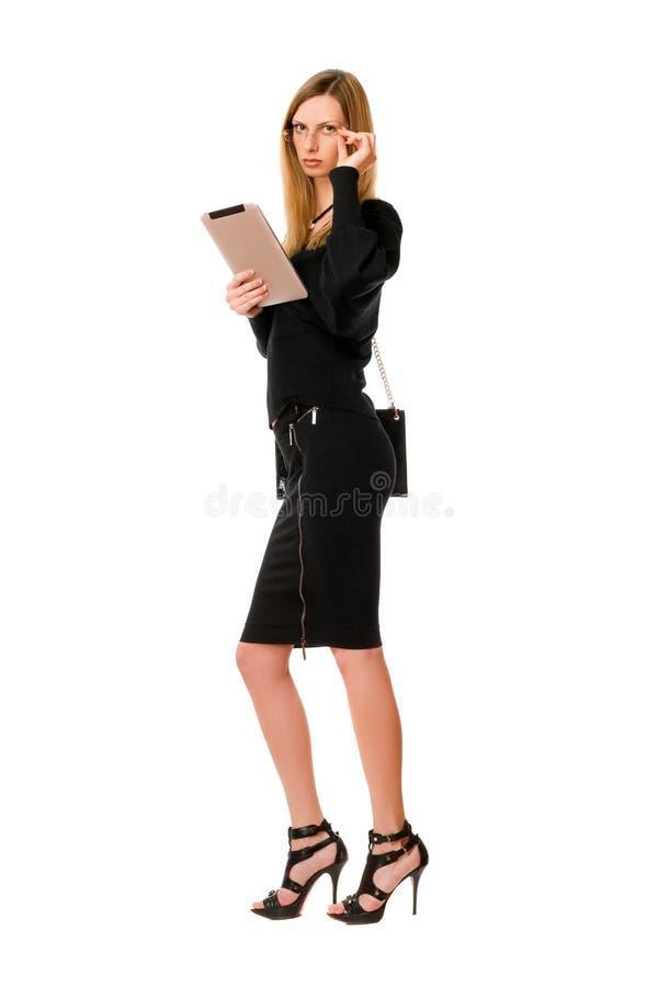 Nätt blond lady med exponeringsglasen arkivfoton