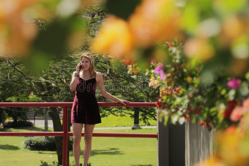 Nätt colombiansk flicka i Panama City som talar på telefonen arkivfoton