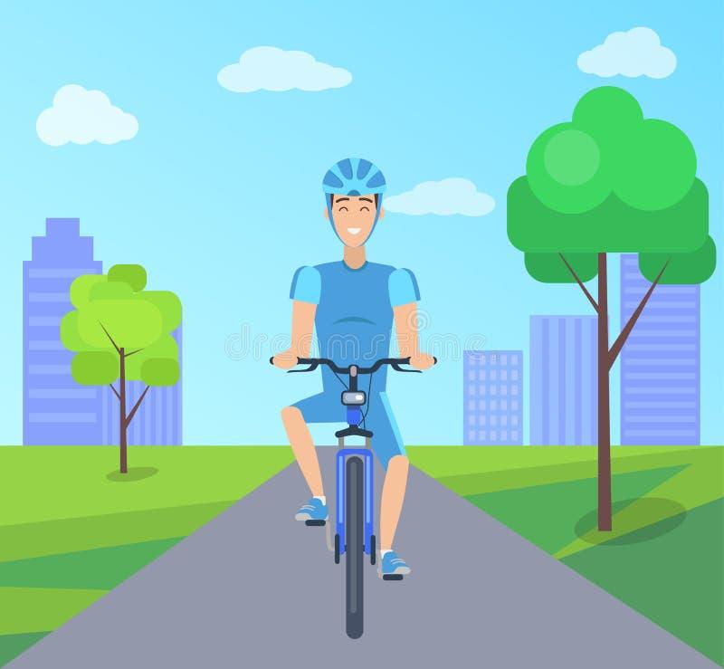 Nätt cyklist i blåttdräktvektorn Illustation stock illustrationer