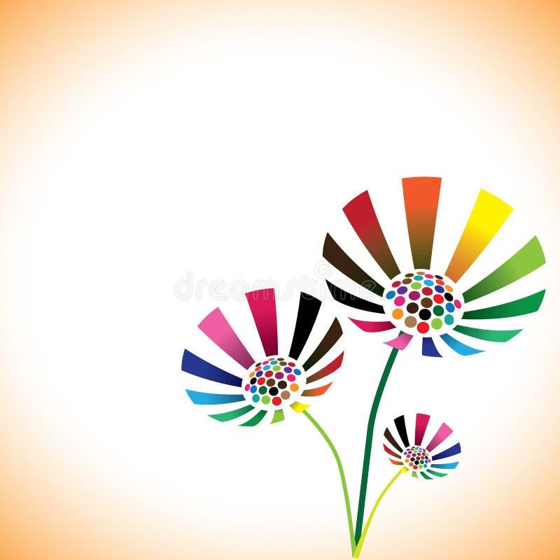 Nätt färgrikt fjädrar blomman som gruppen med kopierar utrymme vektor illustrationer