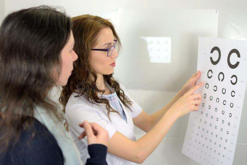 Nätt för ögonläkareoptometriker för ung kvinna som optiker visar provdiagram för visuell skärpa och förklarar till patienten arkivbild