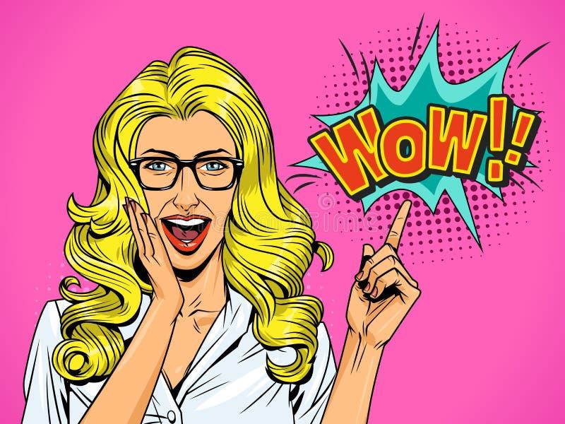 Nätt förvånad blond flicka för popkonst stock illustrationer