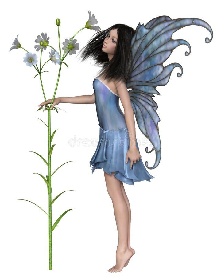 Nätt fe med Pale Blue Flowers vektor illustrationer
