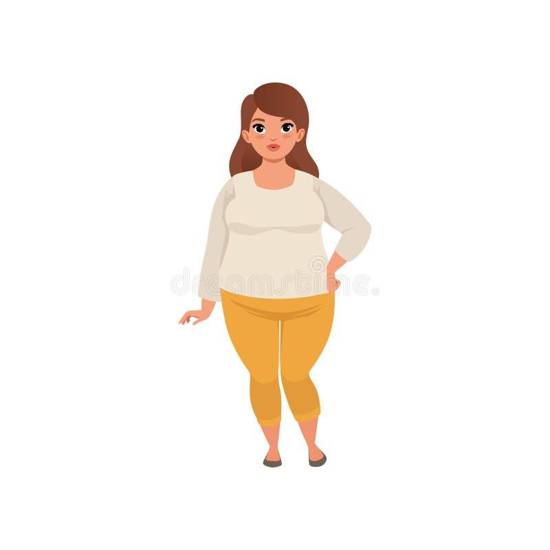 Nätt fett posera för kvinna som isoleras på vit Tecknad filmtecken av den caucasian brunettflickan med brunt hår i beige blus stock illustrationer