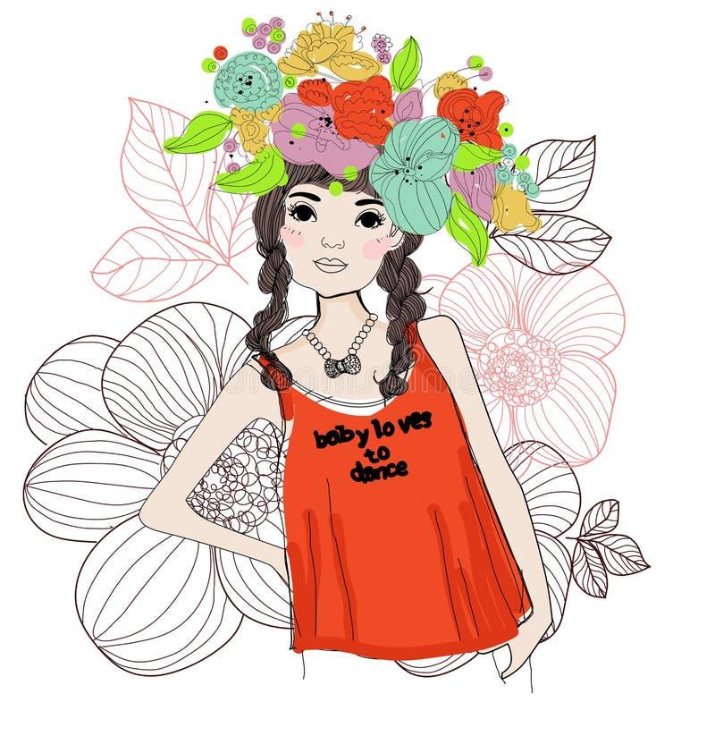 Nätt flicka royaltyfri illustrationer
