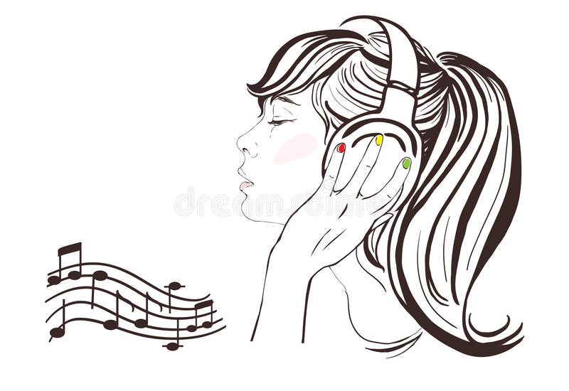 Nätt flicka i hörlurar. Hand-dragen illustration vektor illustrationer