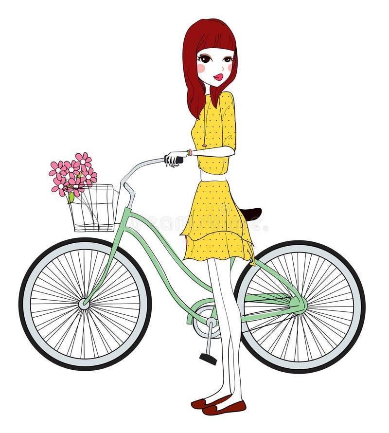 Nätt flicka med cykeln stock illustrationer