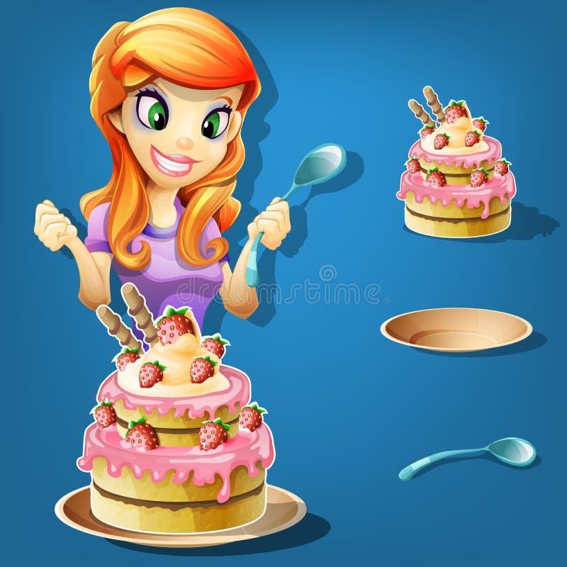 Nätt flicka med en jordgubbekaka vektor illustrationer
