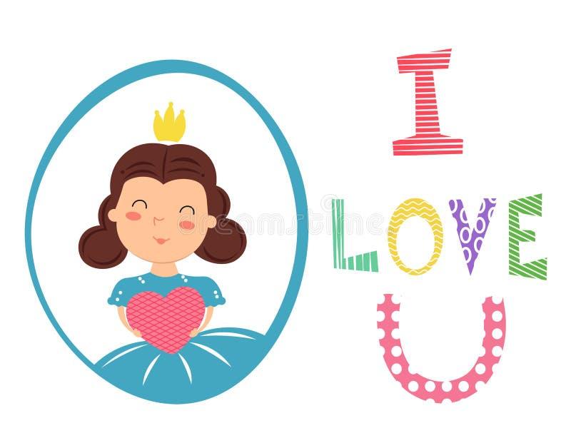 Nätt flicka med hållande hjärta för krona i händer Jag älskar u-text vektor illustrationer