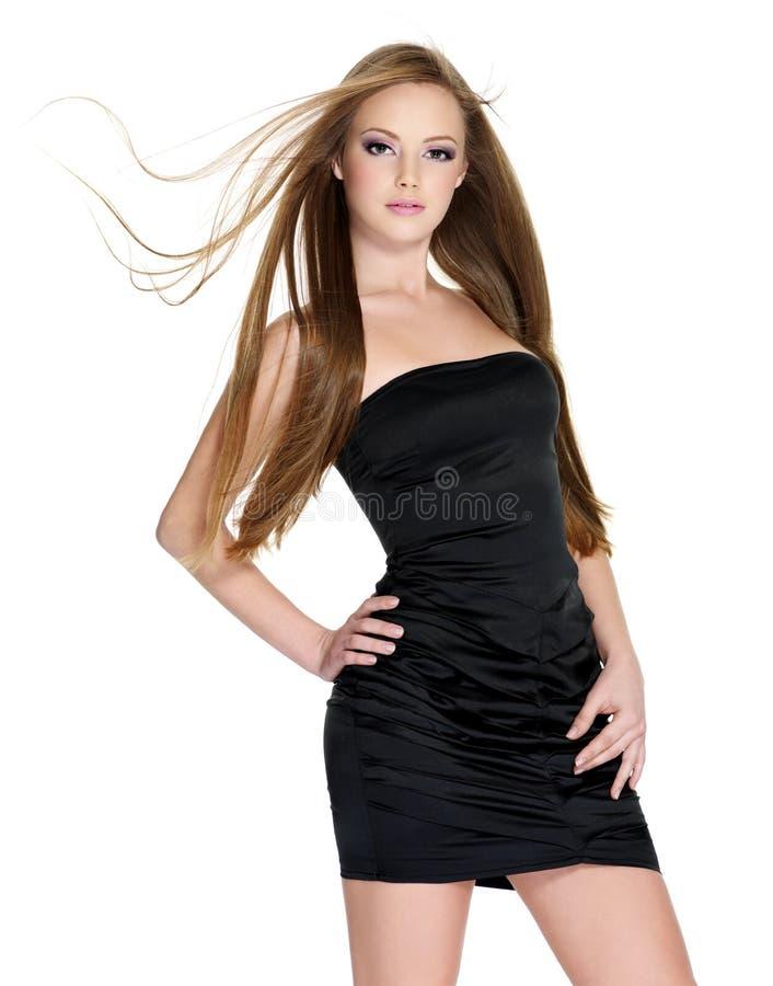 Nätt flicka med långt hår arkivfoton