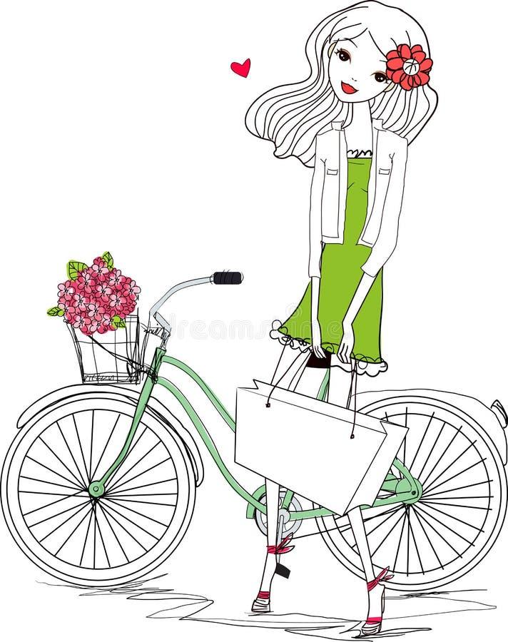 Nätt flicka och cykel vektor illustrationer