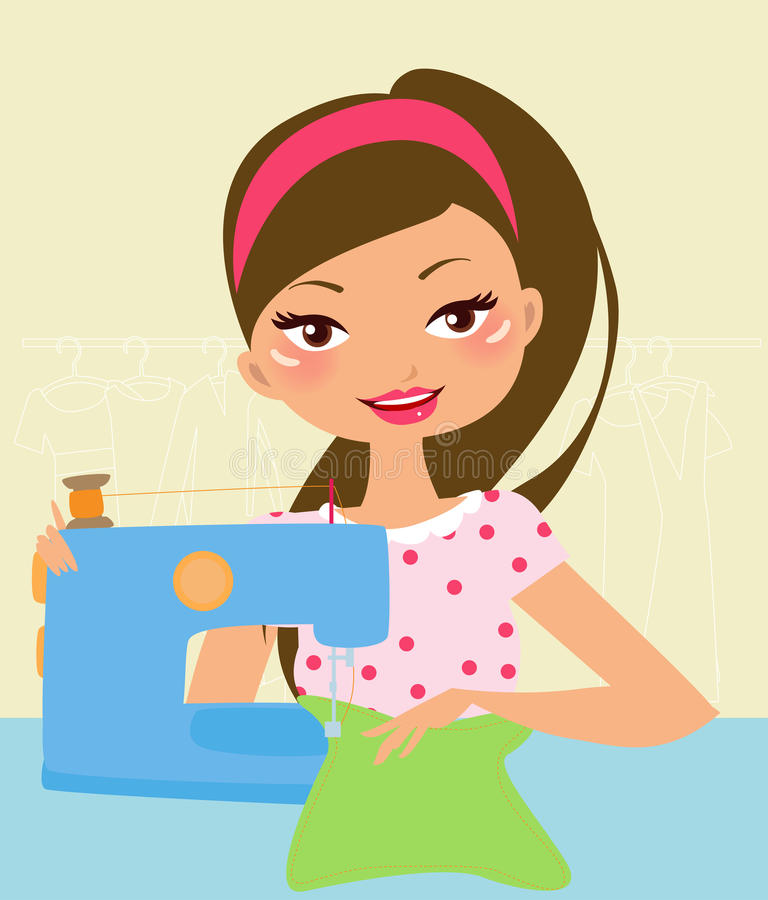 Nätt flicka som använder symaskinen royaltyfri illustrationer