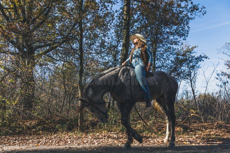 Nätt flicka som rider hennes gråa häst arkivfoton