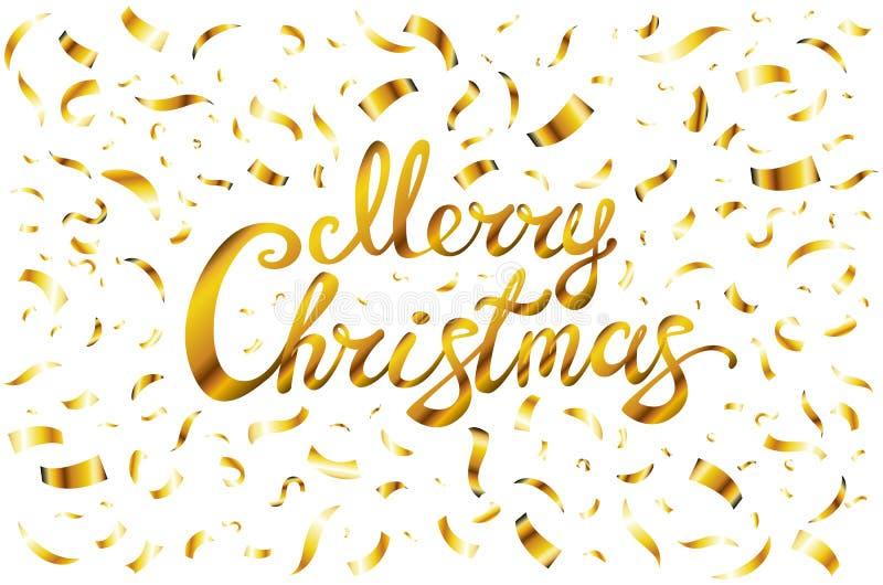 Nätt glad julkortmall Guld blänker konfettier och räcker utdragen bokstäver på vit bakgrund Vektorillustra royaltyfri illustrationer