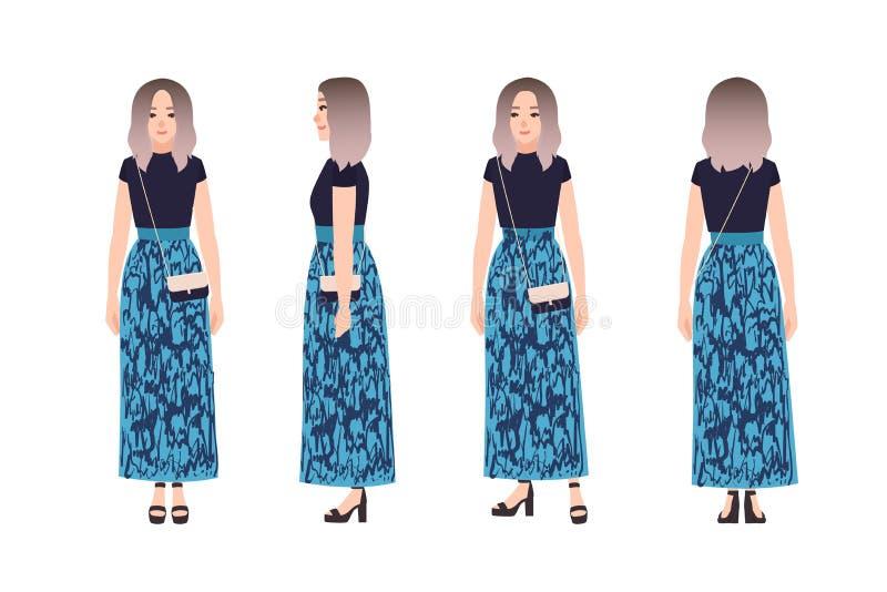 Nätt gullig iklädd moderiktig kläder för ung kvinna Trendig flicka, gatastilblick Kvinnligt tecknad filmtecken stock illustrationer