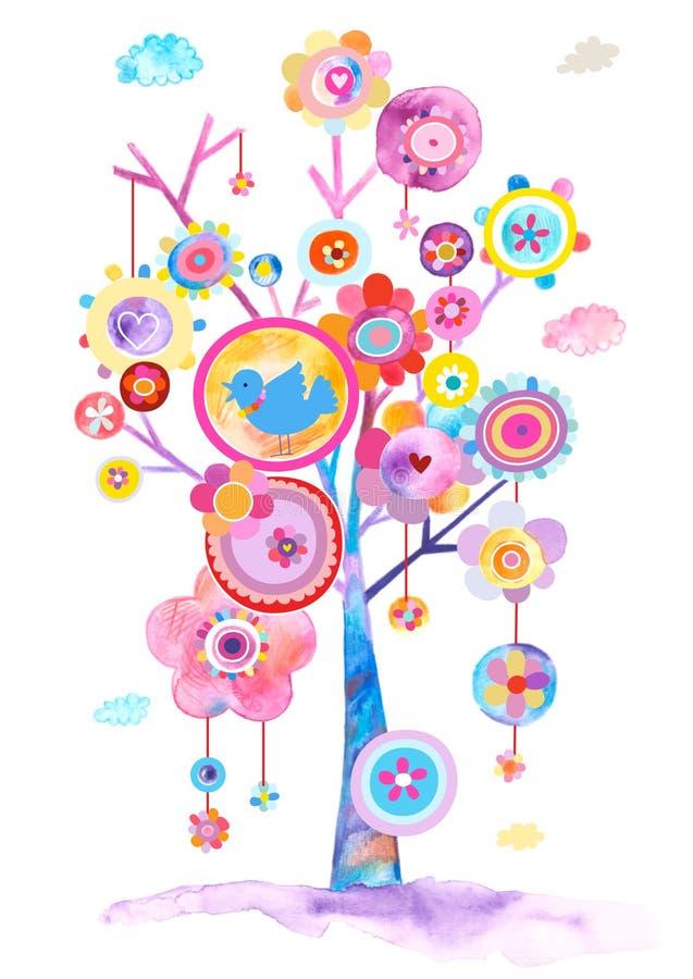 Nätt illustration av ett abstrakt blommande träd stock illustrationer