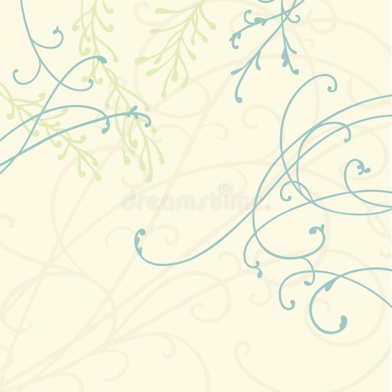 Nätt krullning och krusidullar i blått på beige bakgrund med gröna ormbunkeväxter och sidor, behagfull blom- vektordesign stock illustrationer